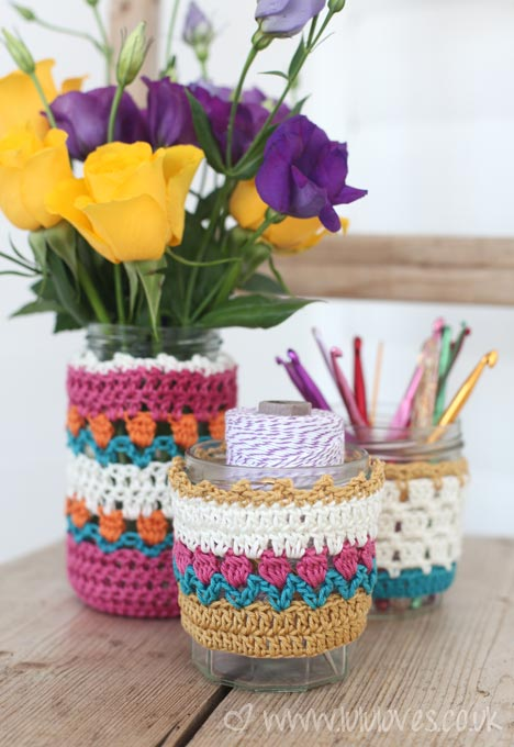 Crochet Spring Jar Cosies - Lululoves