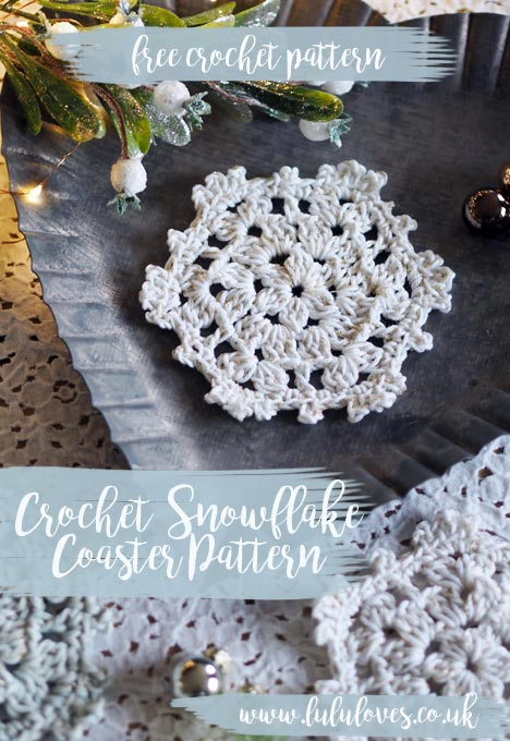 Lululoves: Crochet Snowflake Coaster Pattern