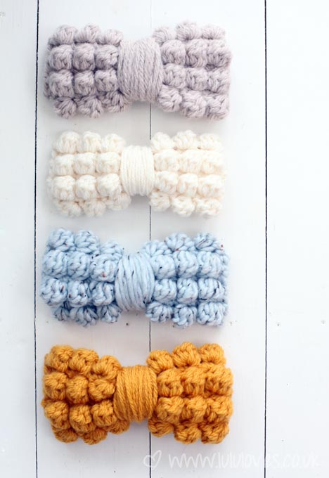 Crochet Chunky Bobble Bows - Lululoves