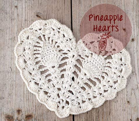 crochet pineapple hearts